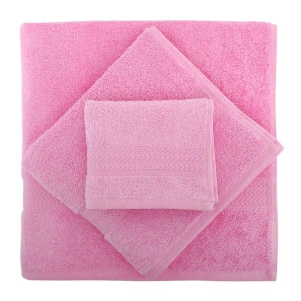 Komplet 3 różowych ręczników Rainbow