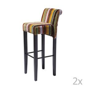 Sada 2 barových židlí s podnožím z bukového dřeva Kare Design British