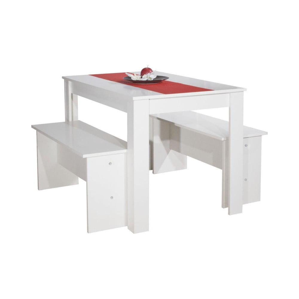 Bílý jídelní stůl se 2 lavicemi Symbiosis Pearl