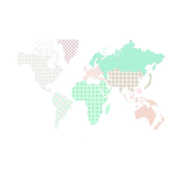 Naklejka ścienna Dekornik Map Pastel, 120x70 cm