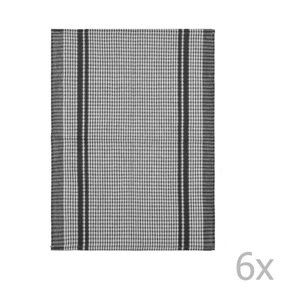 Komplet 6 czarnych bawełnianych ścierek kuchennych Tiseco Home Studio Waffle, 50x70 cm