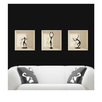Set 3 autocolante cu efect 3D Ambiance Dancing Figures