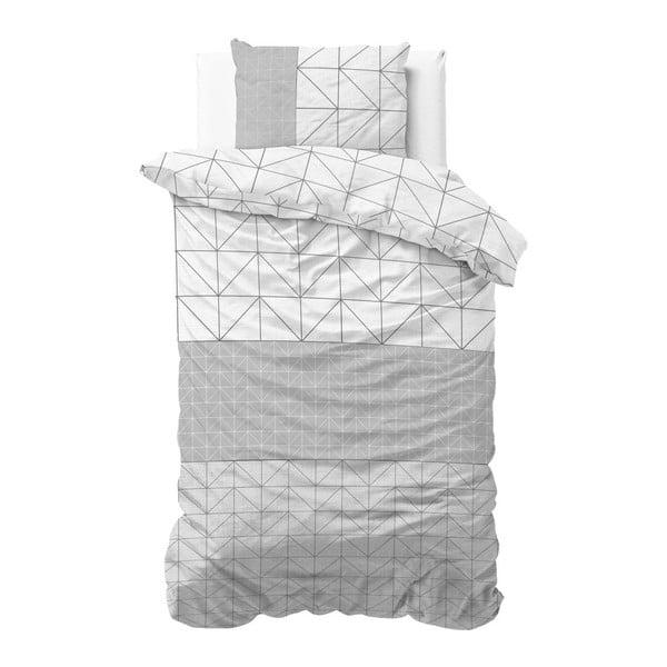 Szaro-biała jednosobowa pościel bawełniana Sleeptime Gino,140x220cm