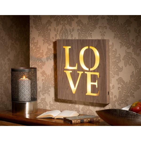 Obraz se svítícím nápisem Love, 34x34 cm