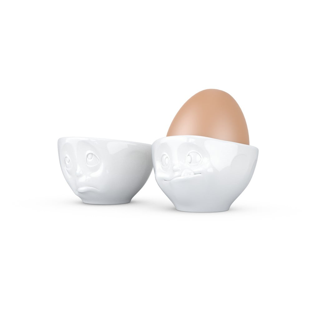 Sada 2 bílých porcelánových kalíšků na vajíčka 58products Oh Please, objem 100 ml 58products