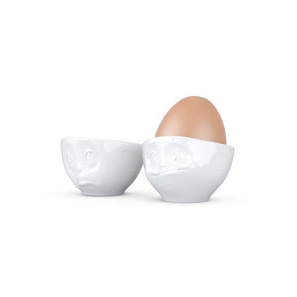 Komplet 2 białych porcelanowych nadąsanych kieliszków do jajek 58products Oh Please, 100 ml