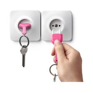 Bílý věšáček na klíče s růžovou klíčenkou Qualy Unplug