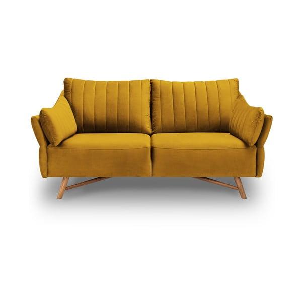 Žlutá sametová pohovka Interieurs 86 Elysée, 174 cm