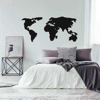 Decorațiune metalică de perete World Map Two, 121 x 56 cm, negru imagine