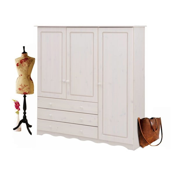 Bílá šatní skříň z masivního borovicového dřeva Støraa Amanda Trio