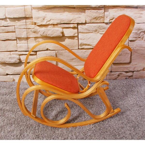 Houpací židle Shabby, medová s oranžovým polstrováním