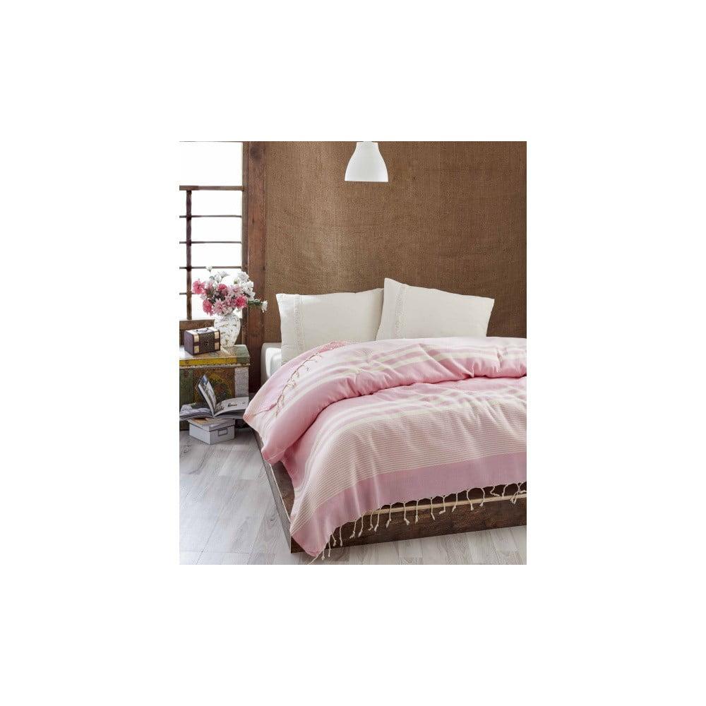 Lehký přehoz přes postel Hereke Pink, 200 x 235 cm