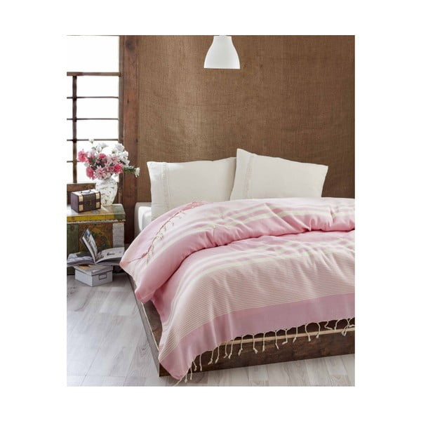 Lehký přehoz přes postel Hereke Pink, 200x235cm