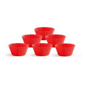 Sada 6 silikonových forem na muffiny Lékué, červená