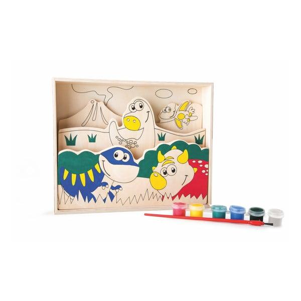 Cartea de colorat din lemn cu vopsea și pensulă Legler My First Dinosaurus