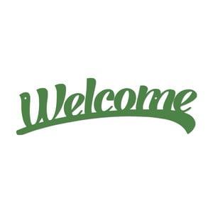 Zelená kovová nástěnná dekorace Welcome