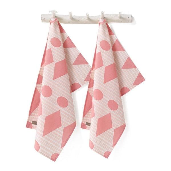 Sada 2 kuchyňských utěrek Flags Pink