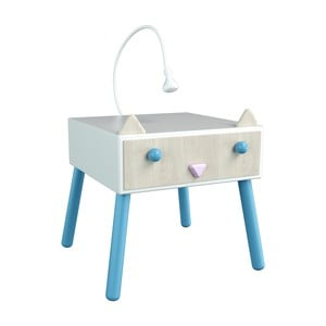 Noční stolek s povrchem z dýhy a modrými detaily Dotties Kočička