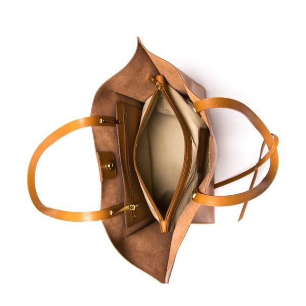 Hnědá kožená kabelka Mangotti Kalina