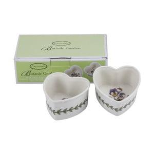 Sada 2 ks porcelánových mističek ve tvaru srdce Portmeirion, šířka 9 cm