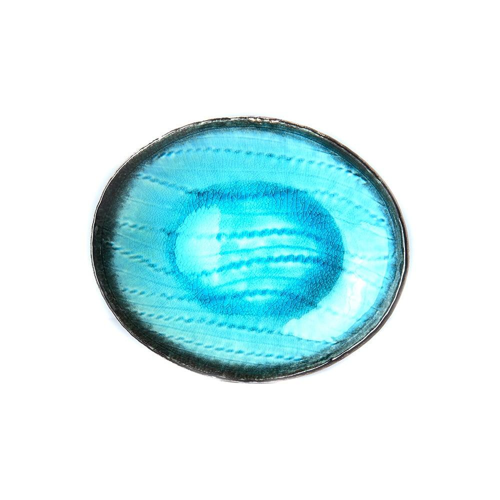 Modrý keramický oválný talíř MIJ Sky, 24x20cm