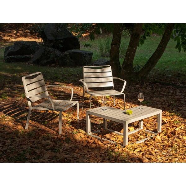 Zestaw 2 aluminiowych krzeseł ogrodowych i narożnego stolika Ezeis Spring