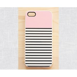 Obal na iPhone 4/4S, Striped Pastel Pink/white
