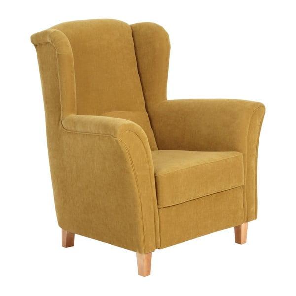 Żółty fotel Max Winzer Agnetha Velvet