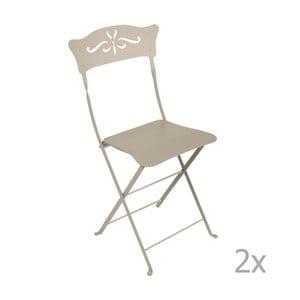 Sada 2 béžových skládacích zahradních židlí Fermob Bagatelle