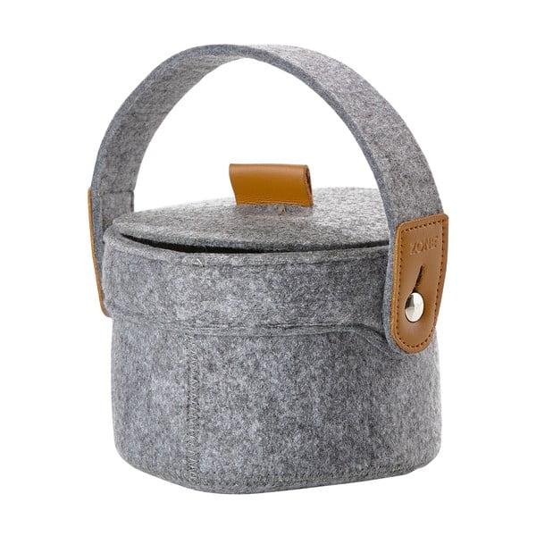 Úložný košík z filce s víkem Zone, šedý
