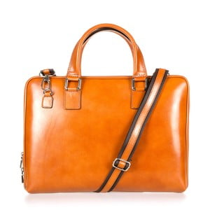 Koňakově hnědá kožená taška přes rameno Italia in Progress Giulio