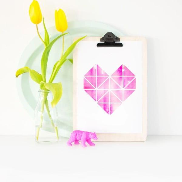 Plakát Origami Herz Pink, A3