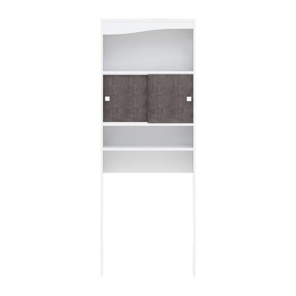 Sistem de depozitare cu polițe și uși în decor de beton pentru mașina de spălat TemaHome Wave, alb