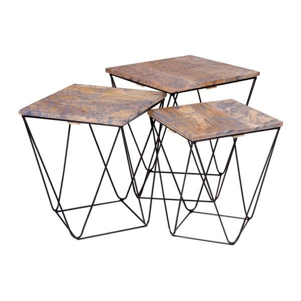 Ranchi 3 db tárolóasztal szürke mangófa asztallappal - House Nordic