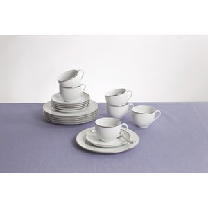 Kávový set Aronda 18 ks, bílá-stříbrná