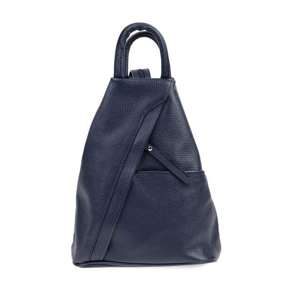 Tmavě modrý kožený batoh Carla Ferreri