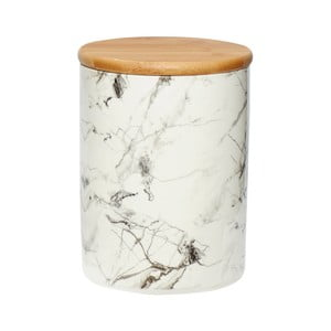 Bílá porcelánová dóza Hübsch Marble, výška19cm