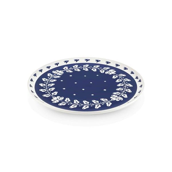 Modro-bílý porcelánový servírovací talíř Mia Bloom, ⌀ 30 cm