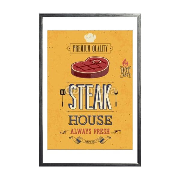 Zarámovaný plakát Vintage Steak House, černý rám