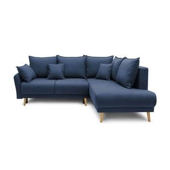 Colțar extensibil cu șezlong pe partea dreaptă Bobochic Paris Mia L, albastru închis imagine