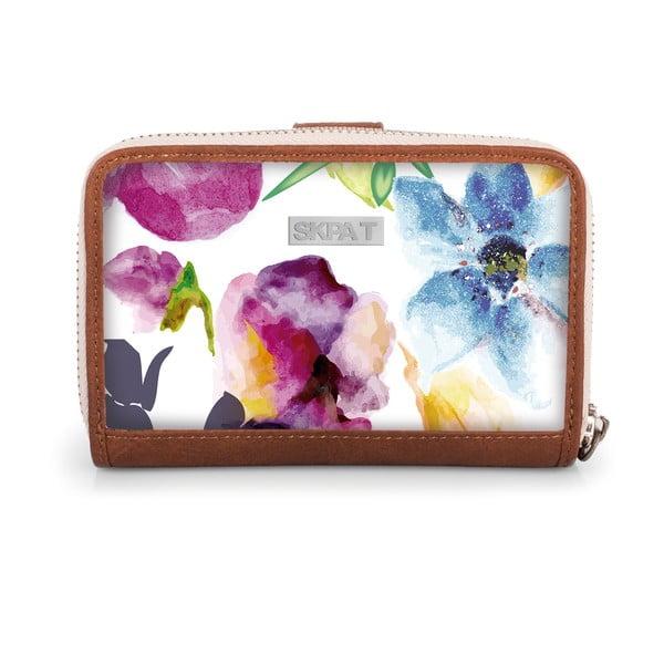 Bílá peněženka s barevnými květy SKPA-T, 14 x 9 cm