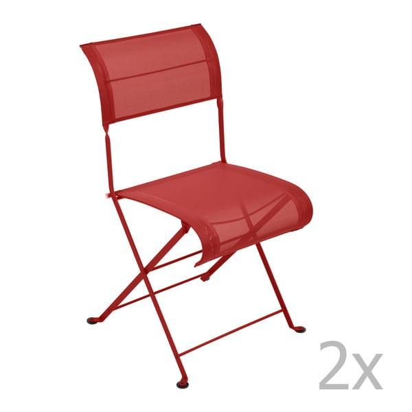 Sada 2 sytě červených skládacích židlí Fermob Dune