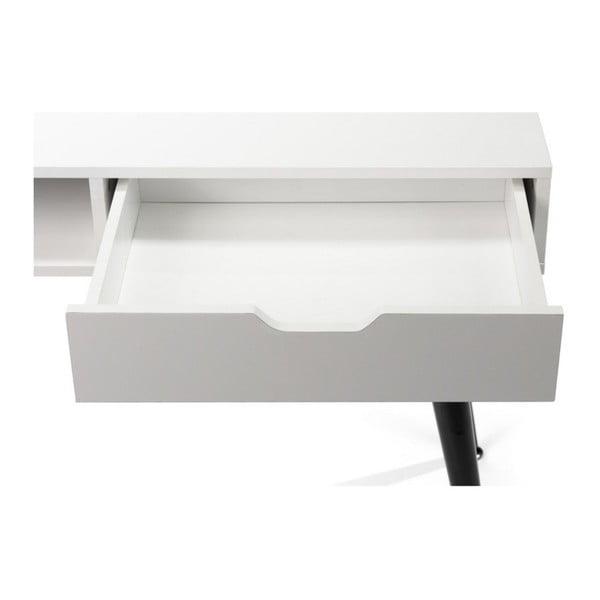 Birou cu structură neagră din metal loomi.design Diego, alb, 100 x 50 cm