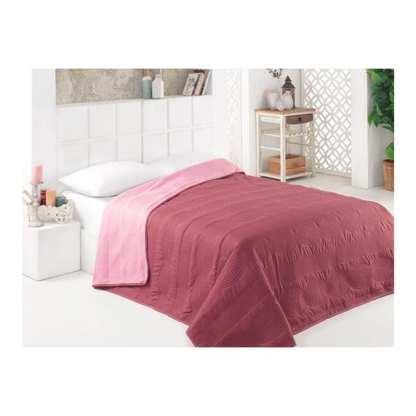 Růžovo-hnědý oboustranný přehoz přes postel z mikrovlákna, 160 x 220 cm