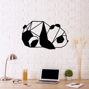 Černá kovová nástěnná dekorace Panda, 55 x 33 cm