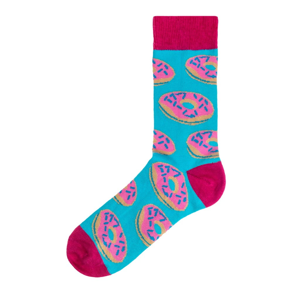 Dámské modro-růžové ponožky Funky Steps Donuts, velikost 35 - 39