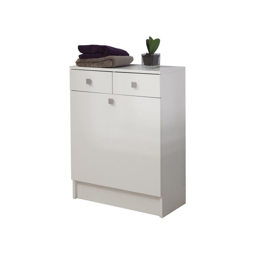 Bílá koupelnová skříňka na prádelní koš Symbiosis André, šířka 60 cm