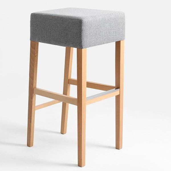 Světle šedá barová stolička s přírodními nohami Custom Form Poter