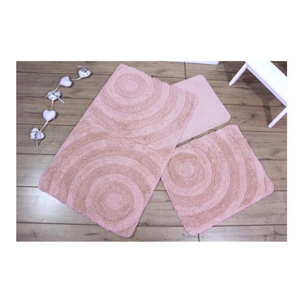 Set 3 růžových koupelnových předložek Adriana