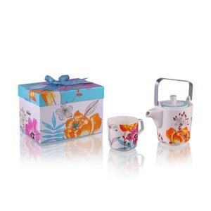 Konvička se 6 hrnky z kostního porcelánu a sítkem na sypaný čaj Silly Design White Flowers, 500 ml